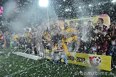 Soccer players celebrating with champagne Editorial Stock Photo