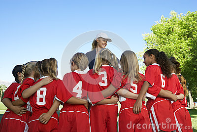 Soccer Players With Coach