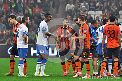 Soccer players on the field arguing Editorial Photography