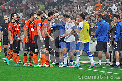 Soccer players on the field arguing Editorial Stock Image