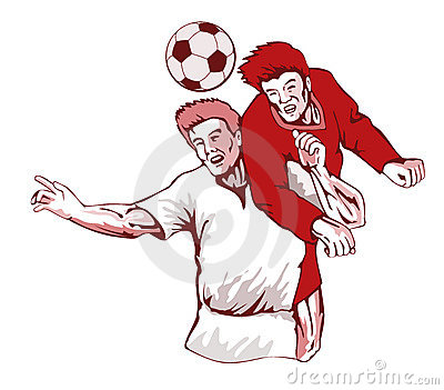 Soccer players heading ball