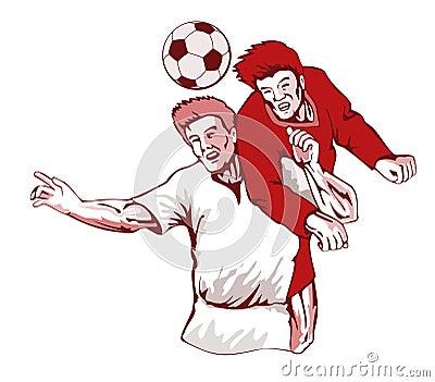 Soccer players heading ball