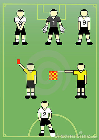 Soccer players and referees.