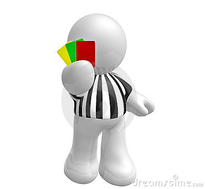 Soccer referee with red green yellow card
