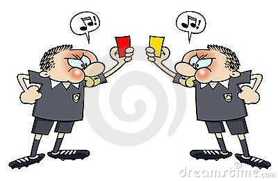 Soccer referees with red and yellow cards