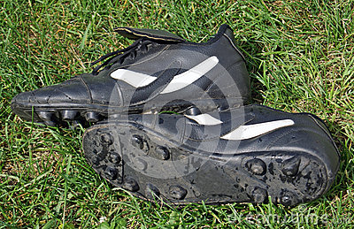 Soccer shoes on grass