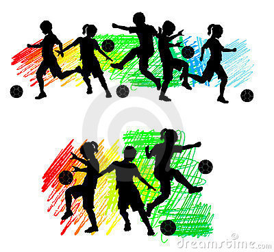 Free Soccer Silhouettes Kids Boys And Girls Royalty Free Stock Image - 19369896