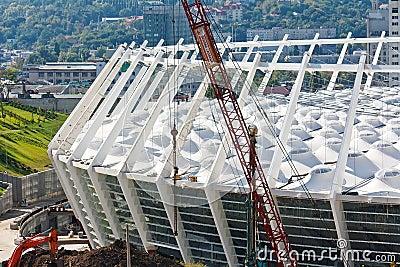 Soccer stadium under construction Editorial Photography