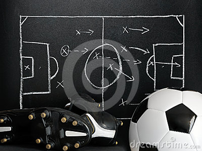 Soccer strategy on a chalkboard