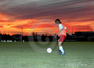 Soccer at sunset
