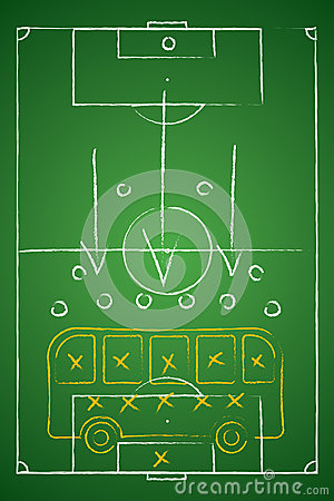 Soccer tactic table. Defensive. Bus tactic.
