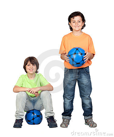 Soccer team with blue ball