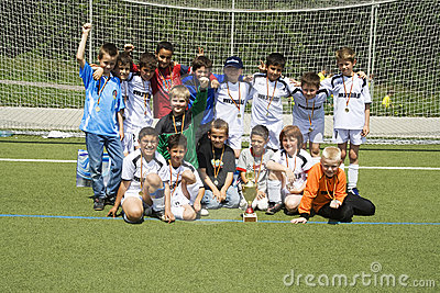 Soccer team BSC SChwalbach after winning the cup Editorial Stock Photo