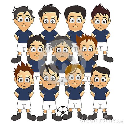 soccer team set blue cartoon royalty free stock image
