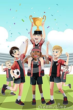 Free Soccer Team Winning Stock Photo - 28704230
