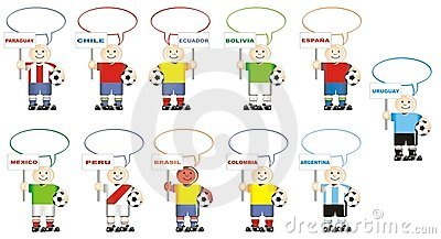 Soccer teams of Spain Mexico and South America