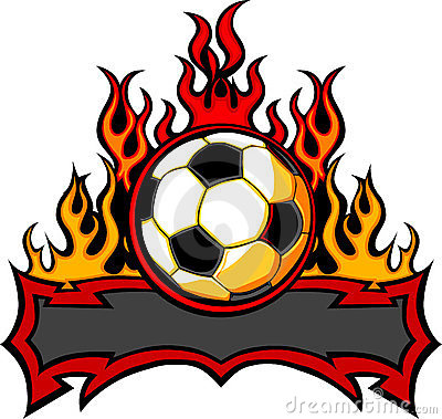 Soccer Template with Flames  Image