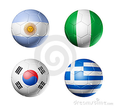 Soccer world cup group B flags on soccer balls
