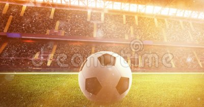 Soccerball at the stadium during sunset. Soccerball on the lawn of a stadium during sunset stock video footage