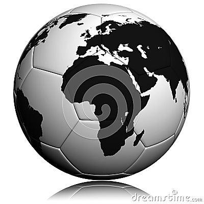 Soccerball with worldmap