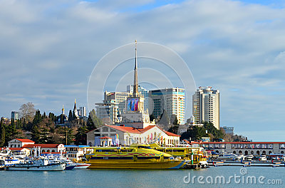 Sochi seaport decorated for the Winter Olympics 2014 Editorial Photo