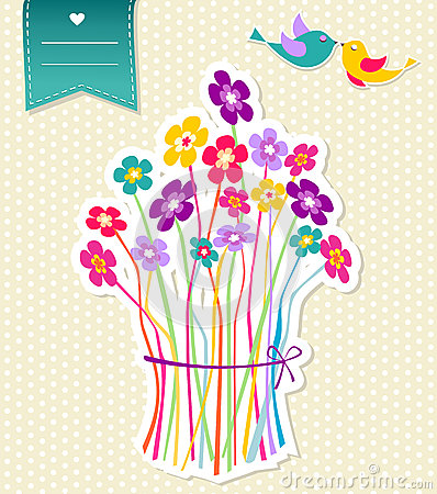 Social birds and flowers template background