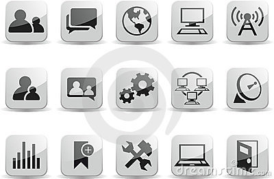 Social Communication Network Black and White Gloss