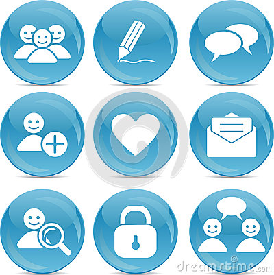 Social communication web icons