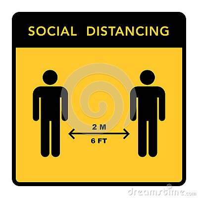 Social distancing banner. Keep the 2 meter distance. Coronovirus epidemic protective Vector Illustration