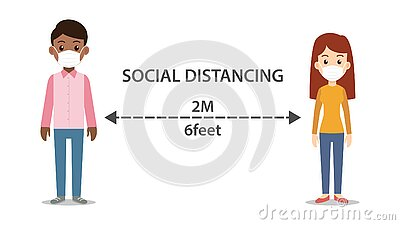 Social distancing man and woman character wearing medical mask Stock Photo