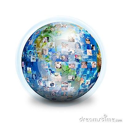Social Friends Network Globe Stock Image - Image: 18832971