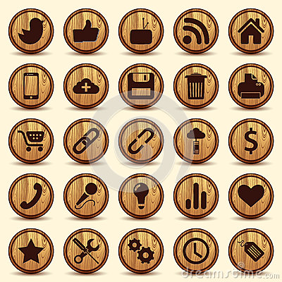 Free Social Icons, Wood Texture Buttons Set Royalty Free Stock Image - 31283866