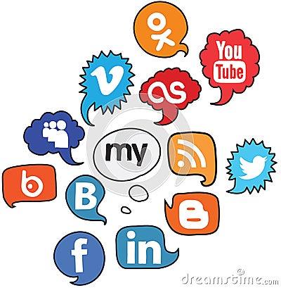 Social logo voice set Editorial Stock Image