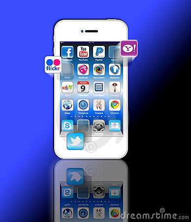 Social Madia apps on a Apple iPhone 4S Editorial Image