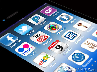 Social Madia apps on a Apple iPhone 4S Editorial Stock Photo