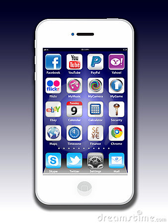 Free Social Madia Apps On A Apple IPhone 4S Royalty Free Stock Photo - 20030365
