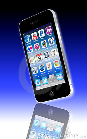 Free Social Madia Apps On A Apple IPhone 4S Royalty Free Stock Photography - 20164237