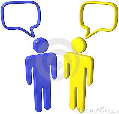 Social media 3D people talk speech bubbles