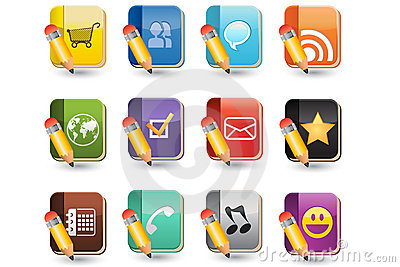 Social Media of Book Icon Set