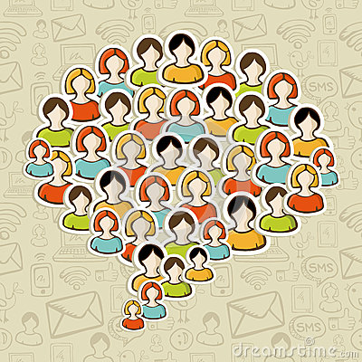 Social media bubble people crowd