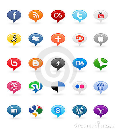 Free Social Media Buttons 1 Royalty Free Stock Photo - 21861995