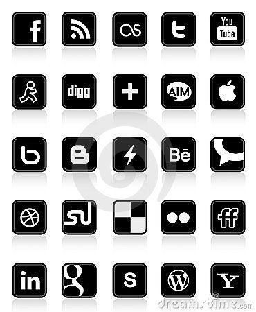 Free Social Media Buttons 1 Stock Photography - 24164972
