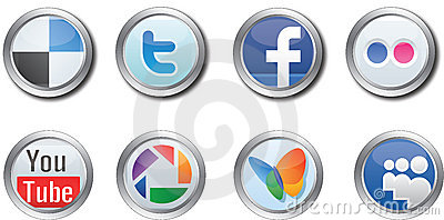 Social Media buttons Editorial Stock Image