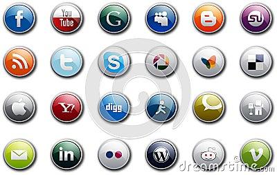 Social Media Buttons Editorial Photo