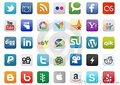 Social Media Buttons Editorial Image