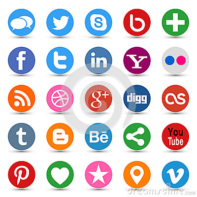 Free Social Media Buttons Royalty Free Stock Photo - 44345335