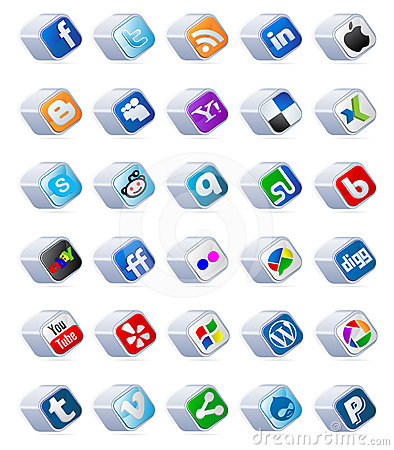 social media buttons set Editorial Stock Photo
