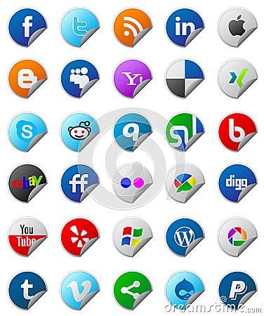 Social media buttons set Editorial Stock Photo