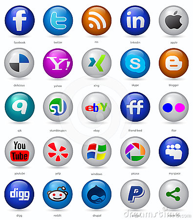 Social media buttons set Editorial Photography
