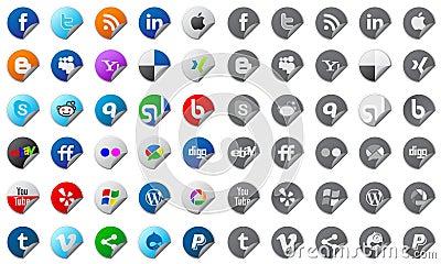 Social media buttons set Editorial Stock Image
